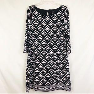 WHBM Geometric Print 3/4 Sleeve Dress Sz Large
